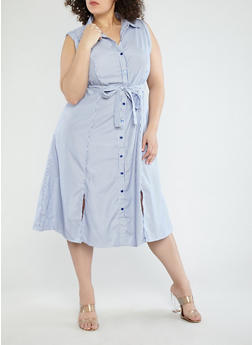 Plus Size Striped Belted Shirt Dress - 1390056125391