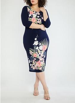 Plus Size Navy Floral Midi Dress - 1390056125515