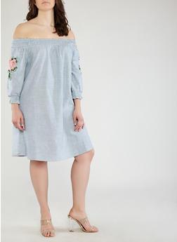 Plus Size Striped Off the Shoulder Dress - 1390056125529