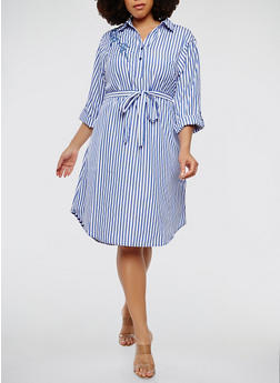 Plus Size Floral Patch Striped Shirt Dress - 1390056125548