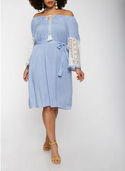 Plus Size Off the Shoulder Crochet Sleeve Dress - 1390056125562