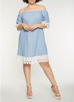 Plus Size Chambray Off the Shoulder Dress - 1390056125563