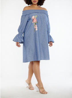 Plus Size Off the Shoulder Chambray Dress - 1390056125655