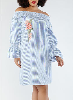 Plus Size Striped Peasant Dress - 1390056125662