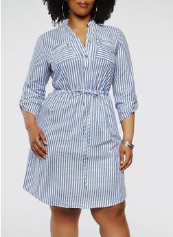 Plus Size Striped Zipper Detail Dress - 1390056125663