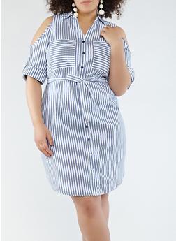 Plus Size Striped Cold Shoulder Shirt Dress - 1390056125664