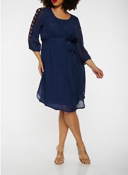 Plus Size Cut Out Sleeve Dress - 1390056125665