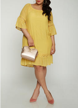 Plus Size Off the Shoulder Crochet Insert Dress - 1390056125666