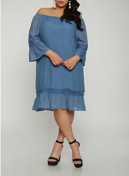Plus Size Off the Shoulder Crochet Insert Dress - 1390056125666