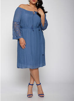 Plus Size Off the Shoulder Peasant Dress - 1390056125667