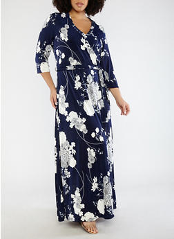 Plus Size Faux Wrap Floral Dress - 1390056125693