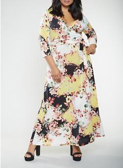 Plus Size Floral Faux Wrap Maxi Dress - 1390056125695
