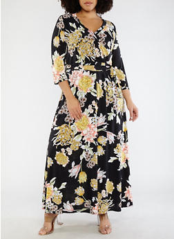 Plus Size Floral Faux Wrap Dress - 1390056125696