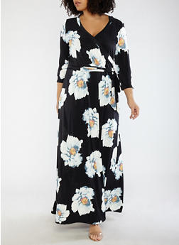 Plus Size Floral Faux Wrap Maxi Dress - 1390056125697