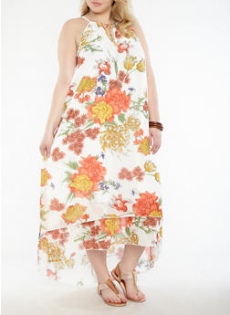 Plus Size Floral Maxi Dress - 1390056125736