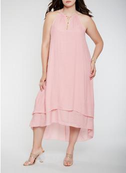 Plus Size Floral High Low Tank Dress - 1390056125737