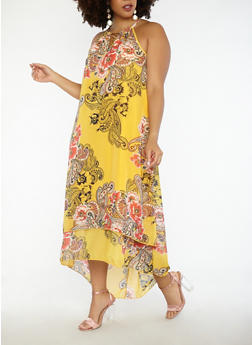 Plus Size Paisley Floral Print Maxi Dress - 1390056125738