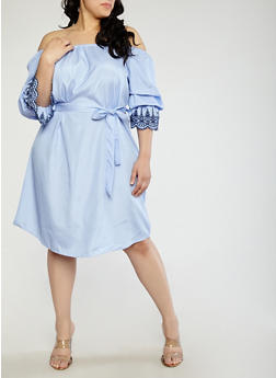 Plus Size Pinstripe Off the Shoulder Dress - 1390056125751