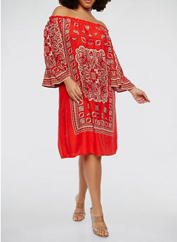 Plus Size Printed Off the Shoulder Dress - 1390056125754