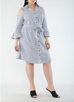 Plus Size Striped Cold Shoulder Shirt Dress - 1390056125756