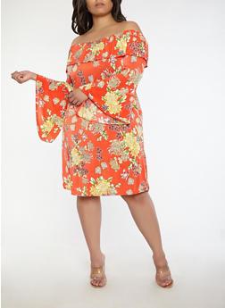 Plus Size Floral Bell Sleeve Off the Shoulder Dress - 1390056125760