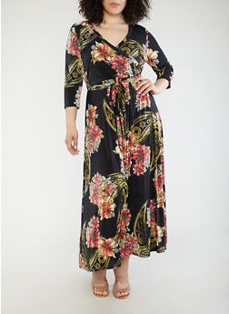 Plus Size Printed Faux Wrap Maxi Dress - 1390056125852