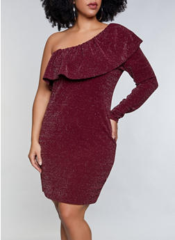 Plus Size One Shoulder Glitter Knit Dress - 1390058750102