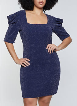 Plus Size Puff Sleeve Glitter Knit Dress - 1390058750105