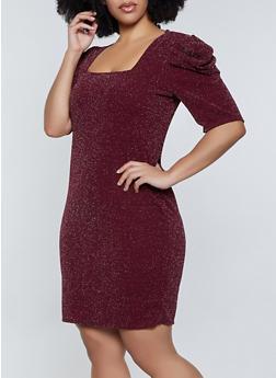 Plus Size Puff Sleeve Glitter Knit Dress - 1390058750105