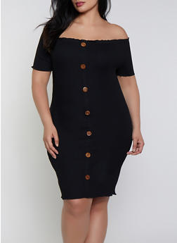 Plus Size Ribbed Lettuce Edge Off the Shoulder Dress - 1390058750210