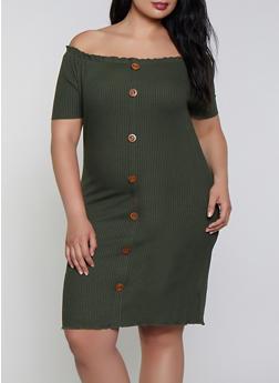 Plus Size Ribbed Lettuce Edge Off the Shoulder Dress - 1390058750210