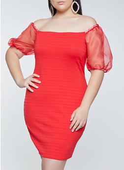 Plus Size Organza Sleeve Off the Shoulder Dress - 1390058750579