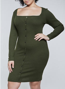 Plus Size Rib Knit Square Neck Dress - 1390058750635