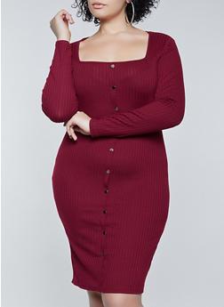 Plus Size Rib Knit Square Neck Dress - 1390058750635