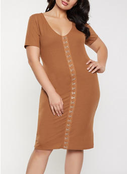 Plus Size Ribbed Knit Hook and Eye Detail Dress - 1390058750644