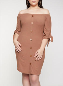 Plus Size Off the Shoulder Tie Sleeve Dress - 1390058750645