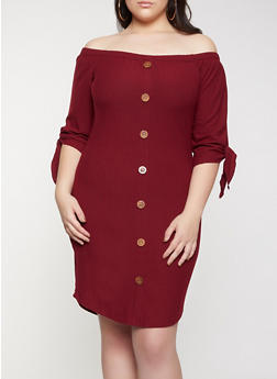 Plus Size Off the Shoulder Tie Sleeve Dress - 1390058750645