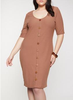 Plus Size Wooden Button Detail Dress - 1390058750649