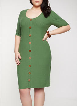 Plus Size Wooden Button Detail Dress - 1390058750649
