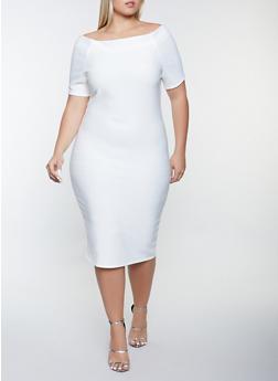 Plus Size Bandage Short Sleeve Dress - 1390058750650