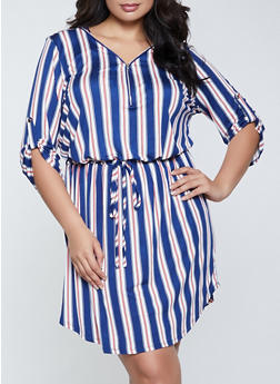 Plus Size Striped Zip V Neck Dress - 1390058750653