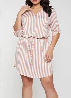 Plus Size Zip V Neck Striped Dress - 1390058750656