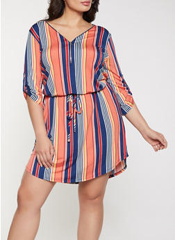 Plus Size Striped Tie Waist Dress - 1390058750657