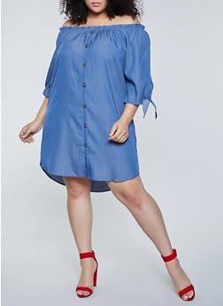 Plus Size Button Off the Shoulder Chambray Dress - 1390058750659