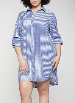 Plus Size Striped Linen Shirt Dress - 1390058750661