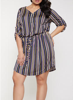 Plus Size Tie Waist Striped Dress - 1390058750663
