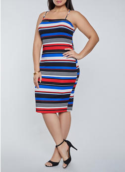 Plus Size Horizontal Stripe Cami Dress - 1390058750667