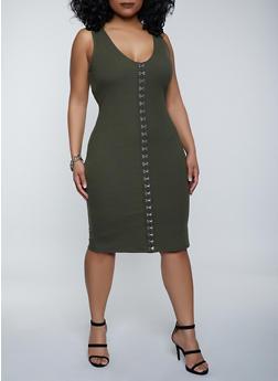 Plus Size Rib Knit Hook and Eye Tank Dress - 1390058750961