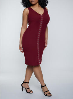 Plus Size Rib Knit Hook and Eye Tank Dress - 1390058750961