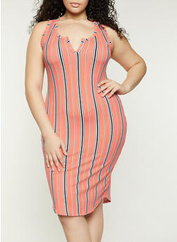 Striped Racerback Tank Midi Dress - 1390058750970